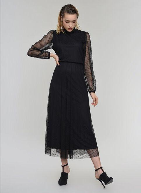 People By Fabrika Kadın Tül Midi Elbise Siyah