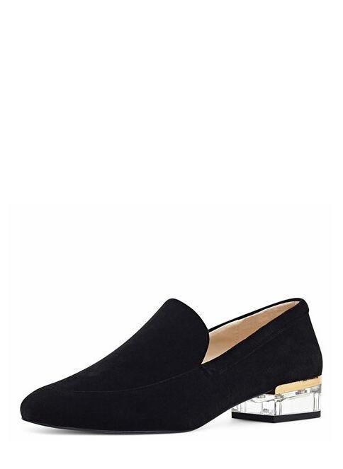 Nine West Kadın Kısa Topuklu Ayakkabı Siyah Kadife